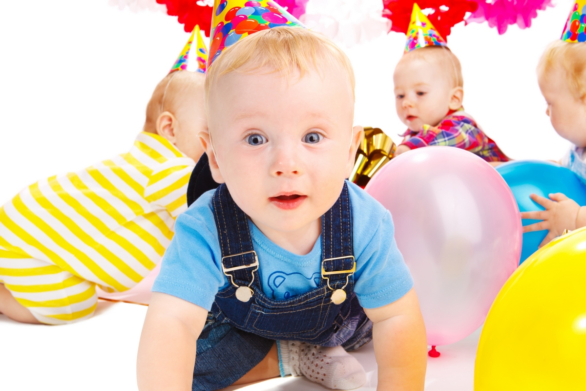 Babies having fun at the birthday party
